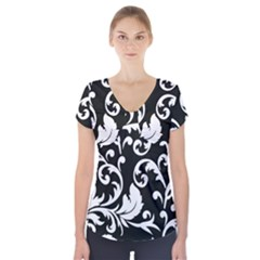 Vector Classical  Traditional Black And White Floral Patterns Short Sleeve Front Detail Top