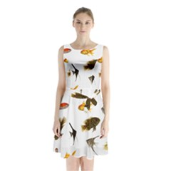Goldfish Sleeveless Chiffon Waist Tie Dress