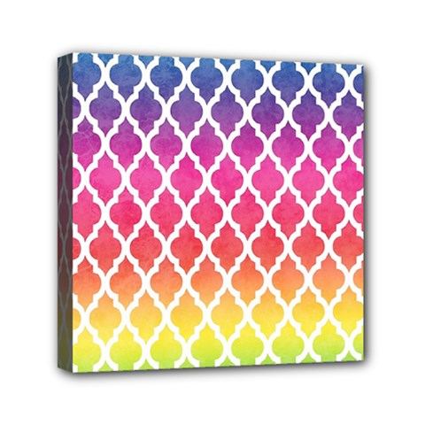 Colorful Rainbow Moroccan Pattern Mini Canvas 6  x 6
