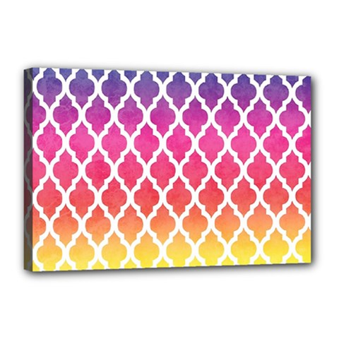 Colorful Rainbow Moroccan Pattern Canvas 18  x 12