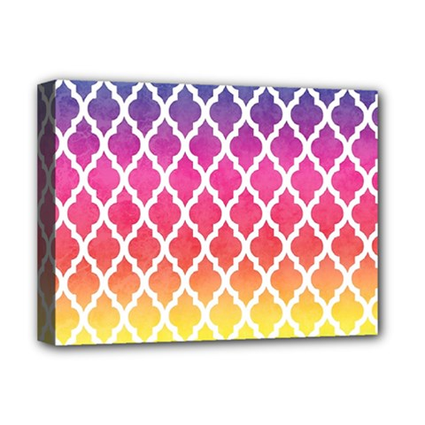 Colorful Rainbow Moroccan Pattern Deluxe Canvas 16  x 12