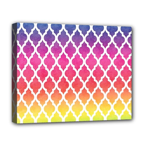 Colorful Rainbow Moroccan Pattern Deluxe Canvas 20  x 16