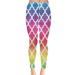 Colorful Rainbow Moroccan Pattern Leggings