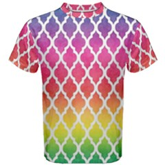 Colorful Rainbow Moroccan Pattern Men s Cotton Tee