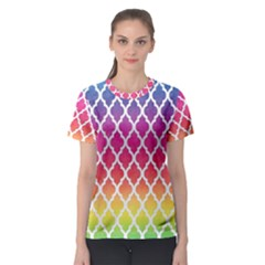 Colorful Rainbow Moroccan Pattern Women s Sport Mesh Tee