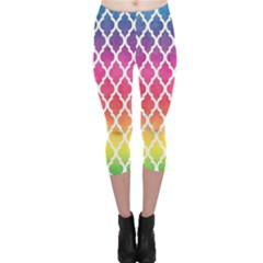 Colorful Rainbow Moroccan Pattern Capri Leggings
