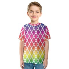 Colorful Rainbow Moroccan Pattern Kids  Sport Mesh Tee