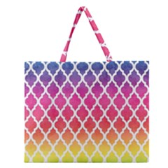 Colorful Rainbow Moroccan Pattern Zipper Large Tote Bag