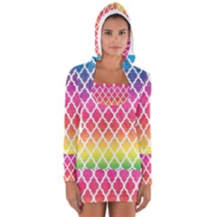 Colorful Rainbow Moroccan Pattern Women s Long Sleeve Hooded T-shirt
