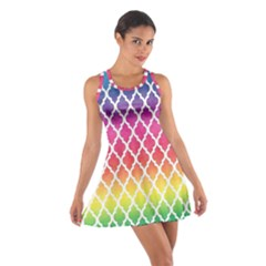 Colorful Rainbow Moroccan Pattern Cotton Racerback Dress