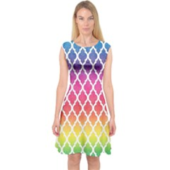 Colorful Rainbow Moroccan Pattern Capsleeve Midi Dress