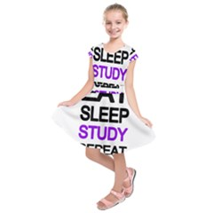 Eat sleep study repeat Kids  Short Sleeve Dress