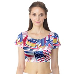 United States Of America Usa Images Independence Day Short Sleeve Crop Top (Tight Fit)