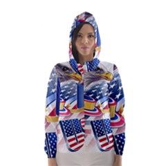 United States Of America Usa Images Independence Day Hooded Wind Breaker (Women)