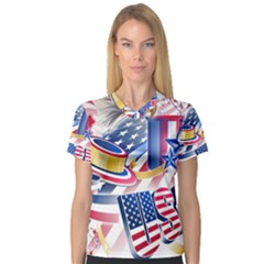 United States Of America Usa Images Independence Day Women s V-Neck Sport Mesh Tee