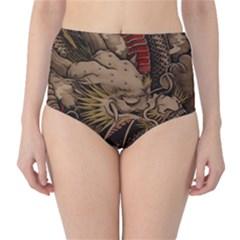 Chinese Dragon High-Waist Bikini Bottoms