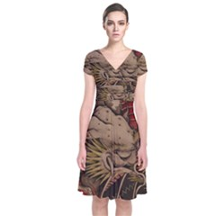 Chinese Dragon Short Sleeve Front Wrap Dress
