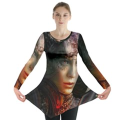 Digital Fantasy Girl Art Long Sleeve Tunic