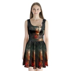 Digital Fantasy Girl Art Split Back Mini Dress