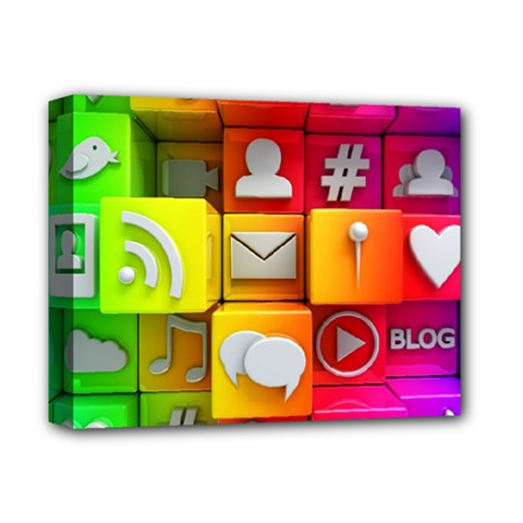 Colorful 3d Social Media Deluxe Canvas 14  x 11