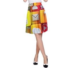 Colorful 3d Social Media A-Line Skirt
