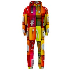 Colorful 3d Social Media Hooded Jumpsuit (Men)