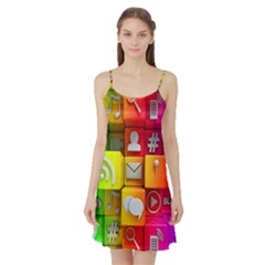 Colorful 3d Social Media Satin Night Slip