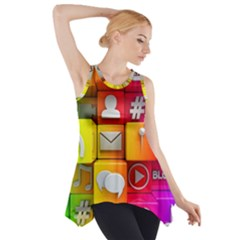 Colorful 3d Social Media Side Drop Tank Tunic