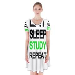 Eat sleep study repeat Short Sleeve V-neck Flare Dress