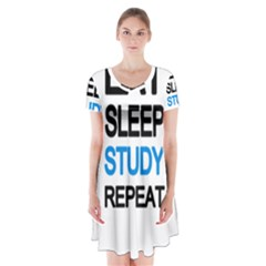 Eat sleep study repeat Short Sleeve V-neck Flare Dress