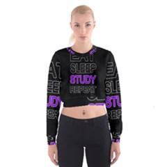 Eat sleep study repeat Cropped Sweatshirt