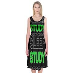 Eat sleep study repeat Midi Sleeveless Dress
