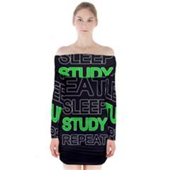 Eat sleep study repeat Long Sleeve Off Shoulder Dress
