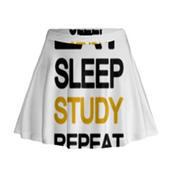 Eat sleep study repeat Mini Flare Skirt