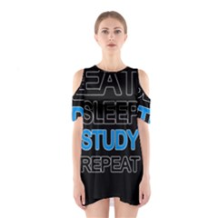 Eat sleep study repeat Shoulder Cutout One Piece