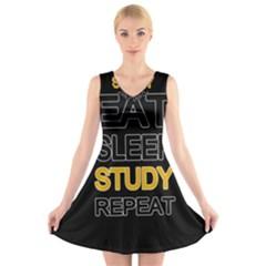 Eat sleep study repeat V-Neck Sleeveless Skater Dress