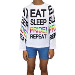Eat sleep pride repeat Kids  Long Sleeve Swimwear