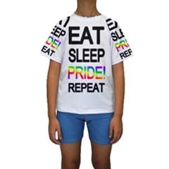 Eat sleep pride repeat Kids  Short Sleeve Swimwear