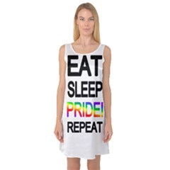 Eat sleep pride repeat Sleeveless Satin Nightdress