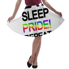 Eat sleep pride repeat A-line Skater Skirt
