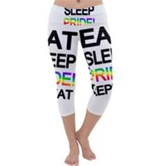 Eat sleep pride repeat Capri Yoga Leggings