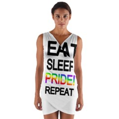 Eat sleep pride repeat Wrap Front Bodycon Dress