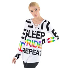 Eat sleep pride repeat Women s Tie Up Tee