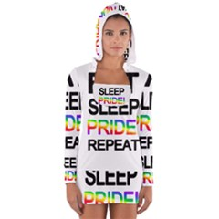 Eat sleep pride repeat Women s Long Sleeve Hooded T-shirt