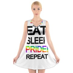 Eat sleep pride repeat V-Neck Sleeveless Skater Dress