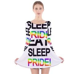 Eat sleep pride repeat Long Sleeve Velvet Skater Dress