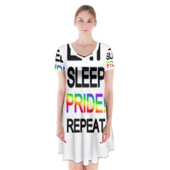 Eat sleep pride repeat Short Sleeve V-neck Flare Dress
