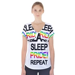 Eat sleep pride repeat Short Sleeve Front Detail Top