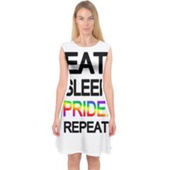 Eat sleep pride repeat Capsleeve Midi Dress