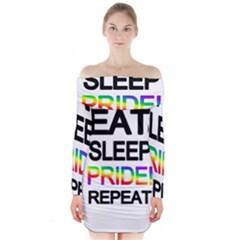Eat sleep pride repeat Long Sleeve Off Shoulder Dress